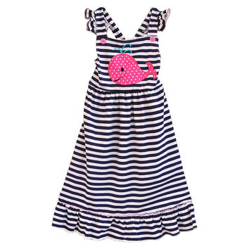 New Fashion Toddler Girls Spring Summer Long Dress Stripes Embroidery Shark Clothes Boutique Remake Kids Ruffle Dress DX004