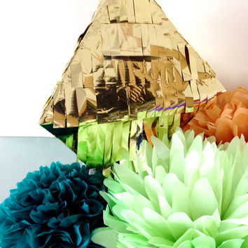 Diamond Piñata in Gold, Silver or Hot Pink Pyramid Piñata Octahedron Metallic Piñata Wedding Piñata Baby Shower Piñata