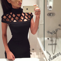 Autumn Winter Women Dress 2017 Turtleneck Short Sleeve Hollow Out Dress Bodycon Clothes Bandage Vestidos Sexy Club Party Dresses