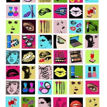 beauty makeup cosmetics clip art digital download collage sheet 1 inch squares