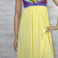 Tribal Embroidery Knit Sweetheart Trapeze Dress-Hot Yellow
