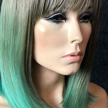 Light Pastel Green Short Bob Human Hair Blend Wig