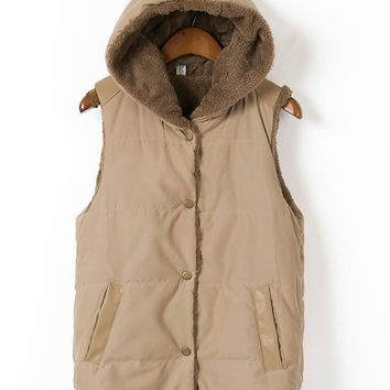 Sleeveless Front Button Hooded Vest with Pocket