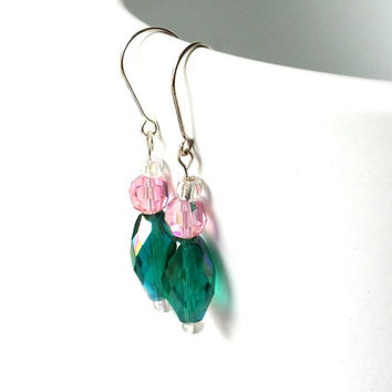 Green, pink and silver sparkly earrings, vintage green faceted bead and light pink sparkly faceted bead