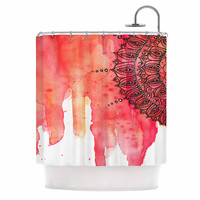 "Li Zamperini ""Red Mandala"" Red Black Shower Curtain"