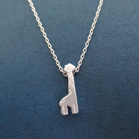 Silver, Giraffe Necklace, Animal, Necklace, Giraffe, Necklace, Gift, Simple, Modern, Jewelry