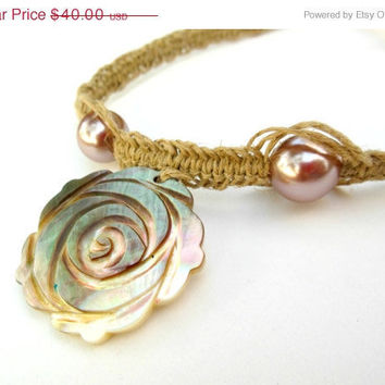 15% off CIJ SALE Rose Shell Pendant Hemp Necklace with Pearl Beads