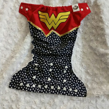 Wonder Woman Cloth Diaper Cover or Pocket Diaper - One-Size or Newborn, S, M, L