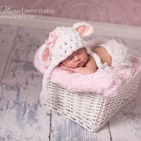 Baby girl hat-little lamb hat-crochet hat-newborn photography-photo prop