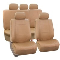 FH-PU001115 Classic PU Leather Car Seat Covers Solid Tan color