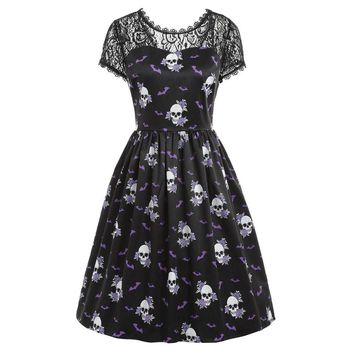 2018 Halloween Lace Fashion Women Dresses Sweet Short Sleeve Vintage Skull Print Evening Party Dress Sexy Slim Dresses Vestidos