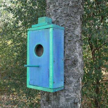 Bird House, Blue and Green made from recycled pallet wood,hand made and hand painted.