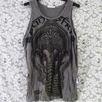 Grey tank top India elephant shirt sleeveless top wrinkled t shirt size M L XL teenage women men american apparel/ fashion