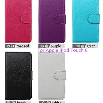 NEW Luxury Wallet Stand Leather Case For Apple iPod Touch 6 With Credit Card Holder