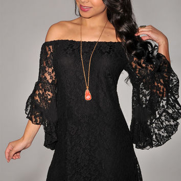 Black Crochet Off Shoulder Bell Sleeve Mini Dress