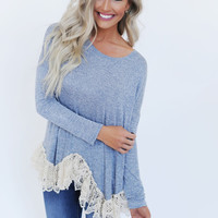 Blue Heathered Crochet Trim Tunic