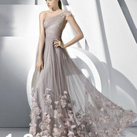 One Shoulder Flower Petal Prom Dresses Brides Wedding Dresses Evening Ball Gown