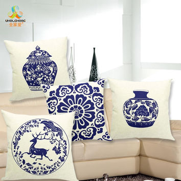 43*43cm Blue And White Porcelain Cushions Linen Cushion Cover Chinese Styel Pillow For Living Room Bed Room