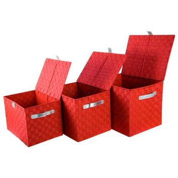 Raymond Waites Nylon Strap Bins (Nested Set of 3) Red/Silver