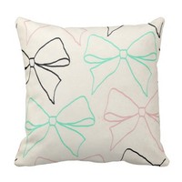 *Bow tied Chic Patterned Throw Pillow
