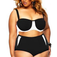 Plus Size Color Block High Waist Bikini Set