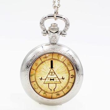 Fashion Gravity Falls Bill Cipher Black/Silver/Bronze Quartz Pocket Watch Analog Pendant Necklace Men Women Boy Girl Chain Gift