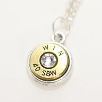 40 S&W Bullet Necklace - Trendy Necklaces - Birthstone Necklace - Personalized Necklace - Ammo Jewelry - Gun Lovers - Pistol Necklace