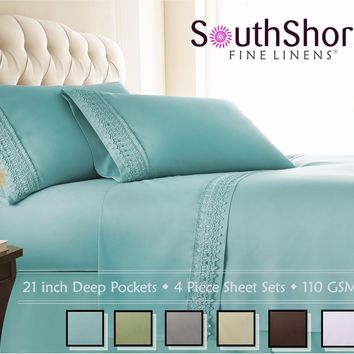 SouthShore Fine Linens- 21 in Extra Deep Bed Sheet Sets & Pillow Cases with Lace