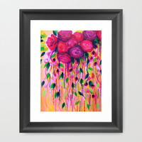 ROSES ARE RAD 2- Bold Pink Red Roses Floral Bouquet Vines, Flower Abstract Acrylic Painting Fine Art Framed Art Print by EbiEmporium | Society6