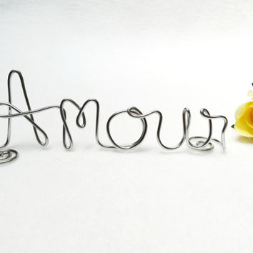 Amour Love Wire Wedding Cake Topper- Silver or Brown