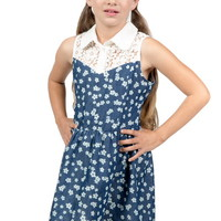 FLORAL PATTERN CROCHET DETAIL DRESS GIRLS