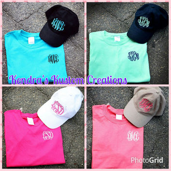 Monogrammed Matching Shirt and Hat Set