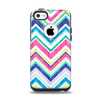 The Vibrant Pink & Blue Layered Chevron Pattern Apple iPhone 5c Otterbox Commuter Case Skin Set