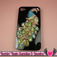 XL Multi-Color PEACOCK Crystal Covered Gold Alloy Bird Decoden Cabochon Cellphone Decoration