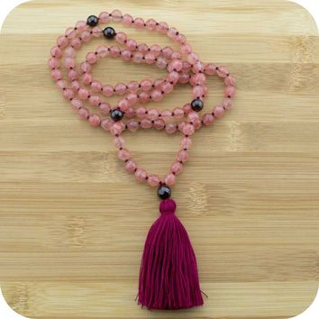 Hand Knotted Cherry Quartz Crystal Yoga Beads Necklace with Red Garnet