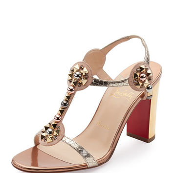 Christian Louboutin Kaleitop Spike T-Strap 85mm Red Sole Sandal, Version Doudou
