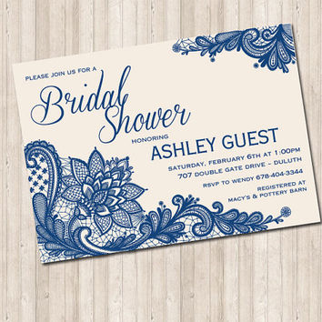 Lace Bridal Shower Invitation- (colors can change)
