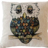Suki The Artsy Owl Throw Pillow