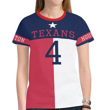 Houston Football #4 State of Texas Flag Women's Mesh Jersey T-Shirt