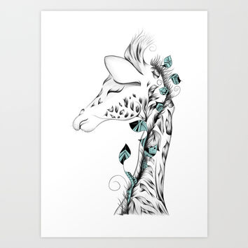 Poetic Giraffe Art Print by loujah