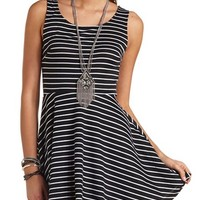 Striped Bow-Back Skater Dress