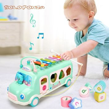 Sorting, Nesting Stacking toys Geometry Holes Blocks Shape Sorting Cube Box plastic bus music play toys learning education BB103