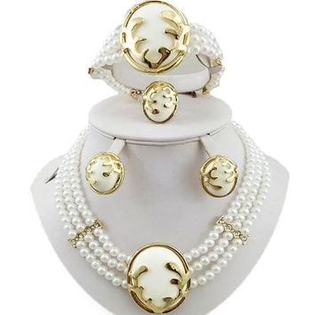 african bead jewelry sets  wedding jewelry set gold jewelry set  party jewelry set women beads necklace