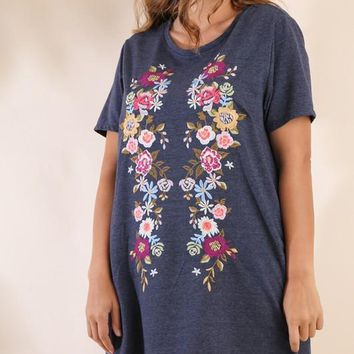 Embroidered Pocket Tee Dress - Navy