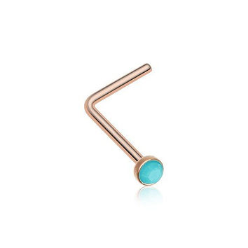 Rose Gold Turquoise Stone L-Shaped Nose Ring