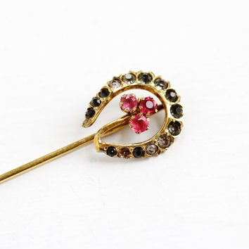 Antique 10k Yellow Gold Horseshoe & Clover Stick Pin - Vintage Late 1800s Victorian Edwardian Good Luck Red Rhinestone Fine Jewelry