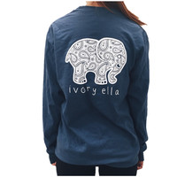 2016 New Summer Style ivory ella Women Long sleeve T Shirts Cotton Cartoon Elephant Print Casual Women TShirt Fashion Tops Z2157