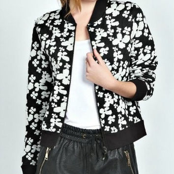 Black And White Floral Print Zippered Jacket