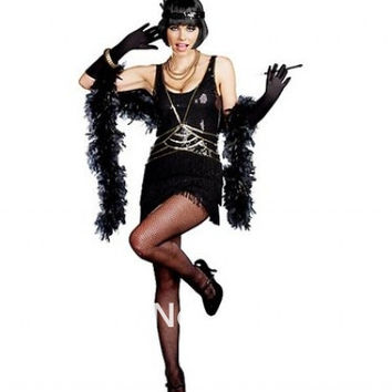 Ladies Black Flapper Costume 20's 30's Charleston Fancy Dress halloween costume women party costume size s-3xl