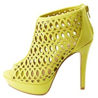 Anne Michelle Cut-Out Peep Toe Platform Heels - Lime